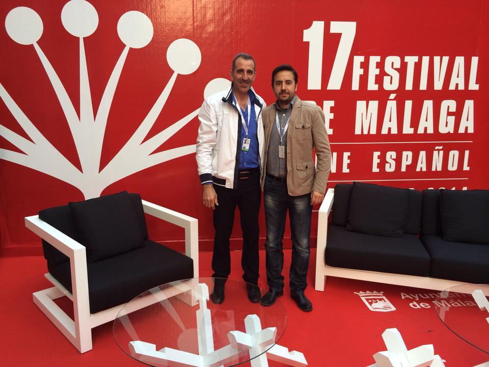 Diego Soto Visuales 2000 Espectaculos Mundo Starlite y Ezekiel Montes de 73tv durante el festival de cine de Málaga, dos productores de televisión siempre unidos
